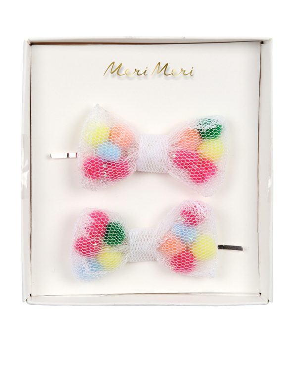 meri meri pom pom net bow hair slides mongoose store